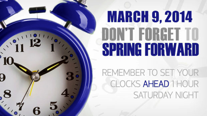SpringForward2014 Daylight Saving Time (United States) 2014 begins at 2:00 AM on Sunday, March 9